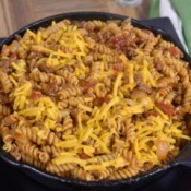 Pasta Goulash in a cast iron pan