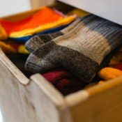 Open sock drawer.