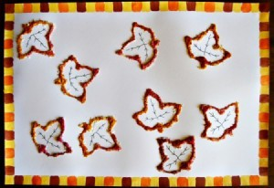 Raised Salt Fall Kids' Artwork - paint the remaining squares with brown and orange and allow to dry