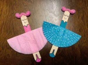 Ballerina Craft Stick - finished pink and blue ballerinas