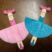 Ballerina Craft Stick - finished pink and blue ballerinas