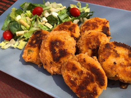 Gluten-Free Tuna Cakes on platter with salad