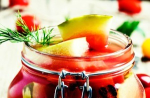Canned Watermelon in a glass jar.