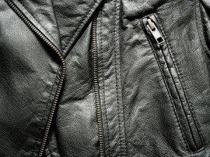 Close up of a leather jacket.