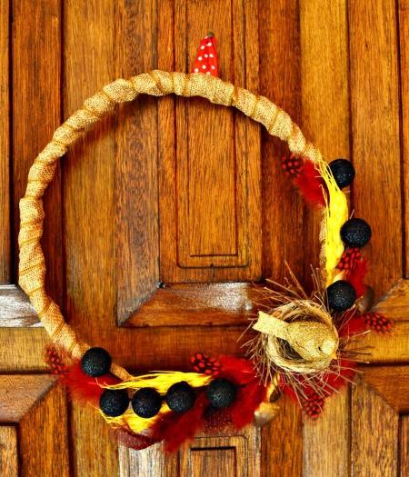 Elements of Nature Fall Wreath - wreath hanging on door