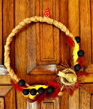 Elements of Nature Fall Wreath - wreath hanging on door