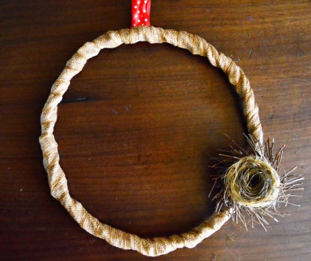 Elements of Nature Fall Wreath - hang the wreath to place nest, take down and glue nest in place