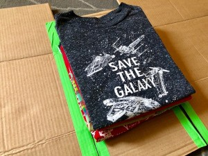 DIY Shirt Folding Board - folded t-shirt