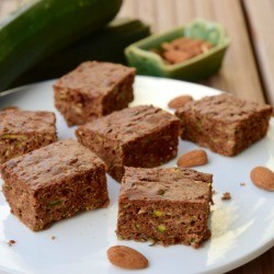 Zucchini Bars on a plate with almonds.