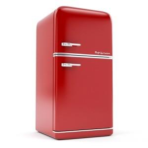 Red vintage refrigerator.