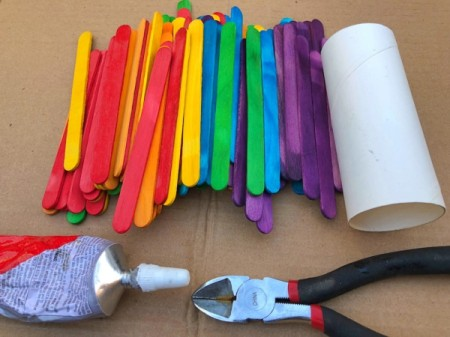 Popsicle Stick Desktop Organizer - supplies