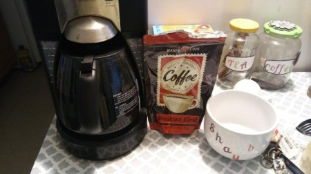 A coffee brewing station at home.