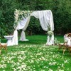 Beautiful setting for outdoors wedding ceremony