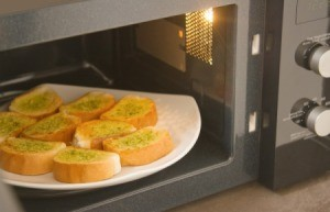 Garlic bread in an microwave.