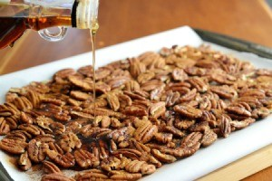 Spiced Pecans on a cookie sheet.