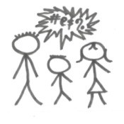 Stick people with a bubble containing curse words.