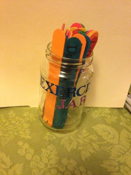 Exercise Jar - place the sticks in the jar with the marked end down