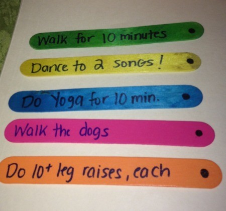 Exercise Jar - write the exercise on each stick add a dot or line to one end