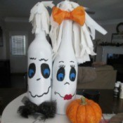 My Mr.& Mrs. Ghost Couple - ghost couple sitting on a plate with a mini pumpkin