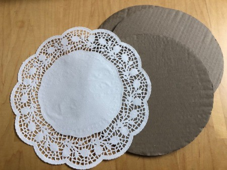 Monogram Initial Sign - doily and cardboard circles