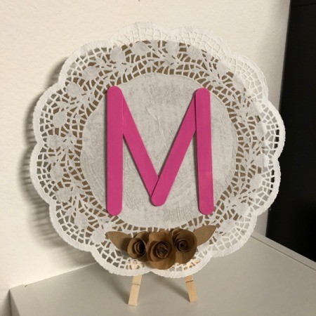 Monogram Initial Sign - sign displayed on an easel