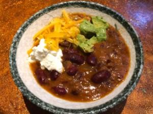 Vegetarian Kidney Bean Chili in bowl