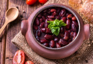 Red Beans in a clay pot.