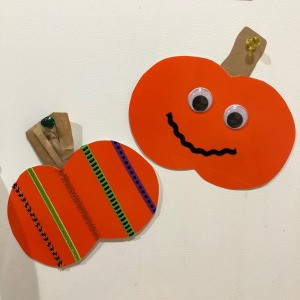 Decorated Paper Pumpkins - two decorated paper pumpkins