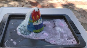 Party Hat Volcano Experiment for Kids - erupted volcano
