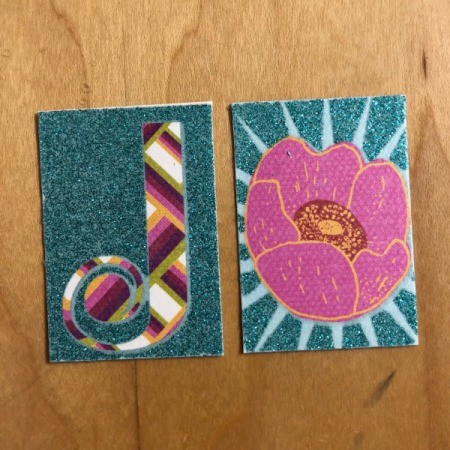 Magnetic Bookmark for Your Journal  - flower and initial