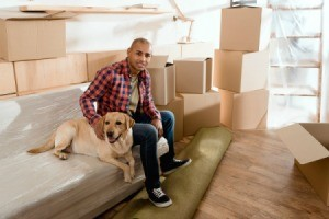 Man sitting on a plastic covered sofa with his dog, surrounded by boxes.