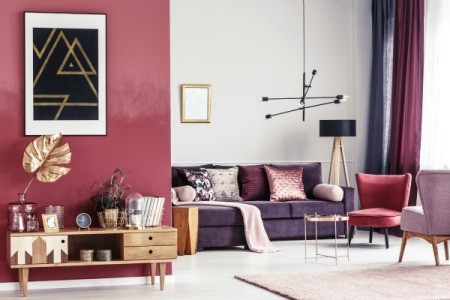 Living room with red a black accents.