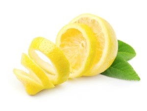 Lemon peel on white back drop.