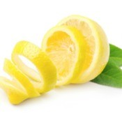 Lemon peel on white back drop.