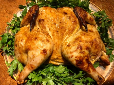 Lebanese Roast Chicken on bed of parsley