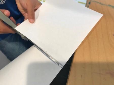 Glitter Art in a Ziploc Bag - cutting square of paper