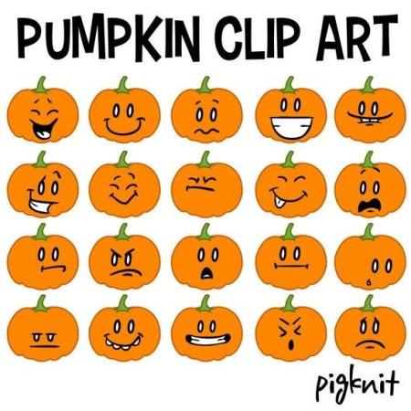 Jack o'Lantern Foam Pumpkin Faces - sheet of pumpkin face clip art
