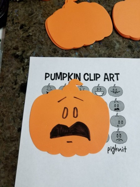 Jack o'Lantern Foam Pumpkin Faces - example of face copied from clip art
