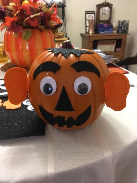 Easy Pumpkin Decorating - funny pumpkin with big ears