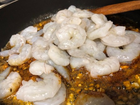 shrimp added to spiced butter
