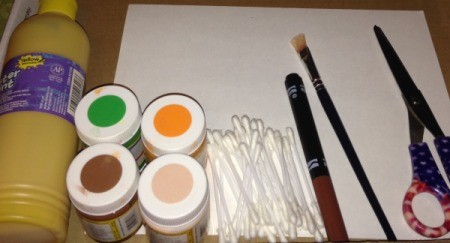 Q-Tip Painted Fall Trees  - supplies