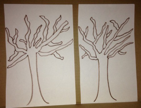 Q-Tip Painted Fall Trees - draw tree shapes