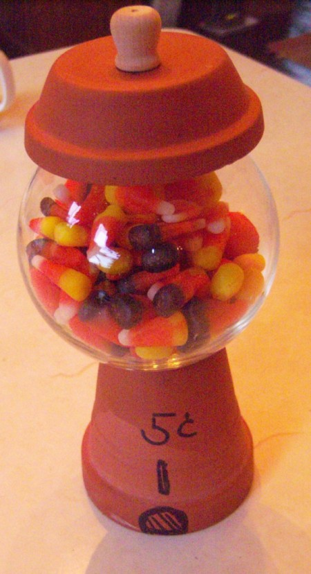 Gumdrop Machine Decoration or Party Centerpiece - closeup of finished machine