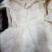 Whitening a Yellowed Wedding Dress - bodice of the dress