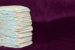 Stack of disposable diapers.