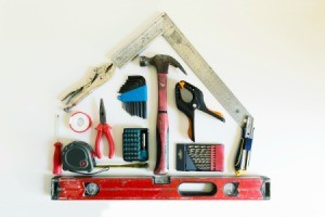 Shape of a house from construction tools.