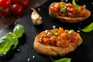 tomato and basil brushetta.