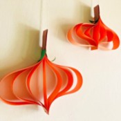 Hanging Paper Pumpkins - two hanging paper pumpkins