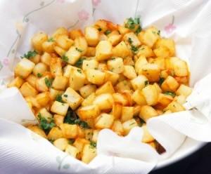 Breakfast Potatoes sitting on a towel.