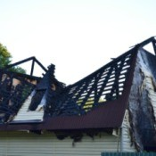 House roof damaged in a fire.